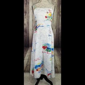 GAP Dresses - Gap fit & flare map print cami midi dress